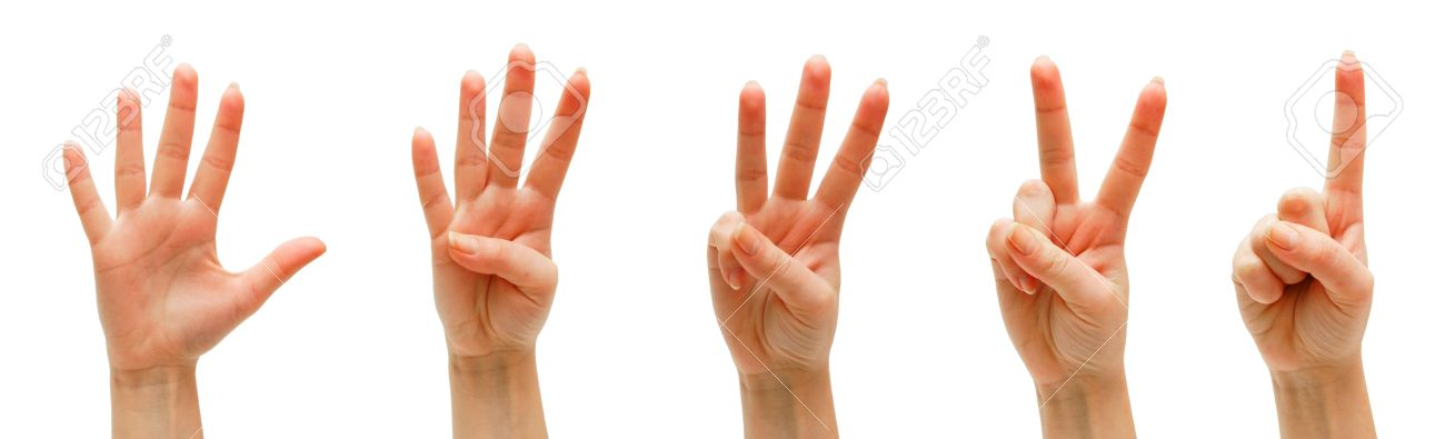 Hands, fingers and numbers. On a white background. Isolated. Stock Photo - 13806718