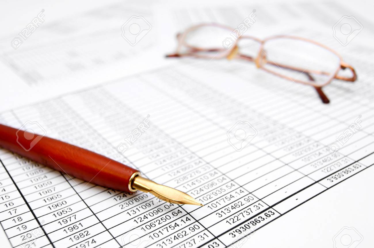 Pen and Glasses  On documents Stock Photo - 17234126