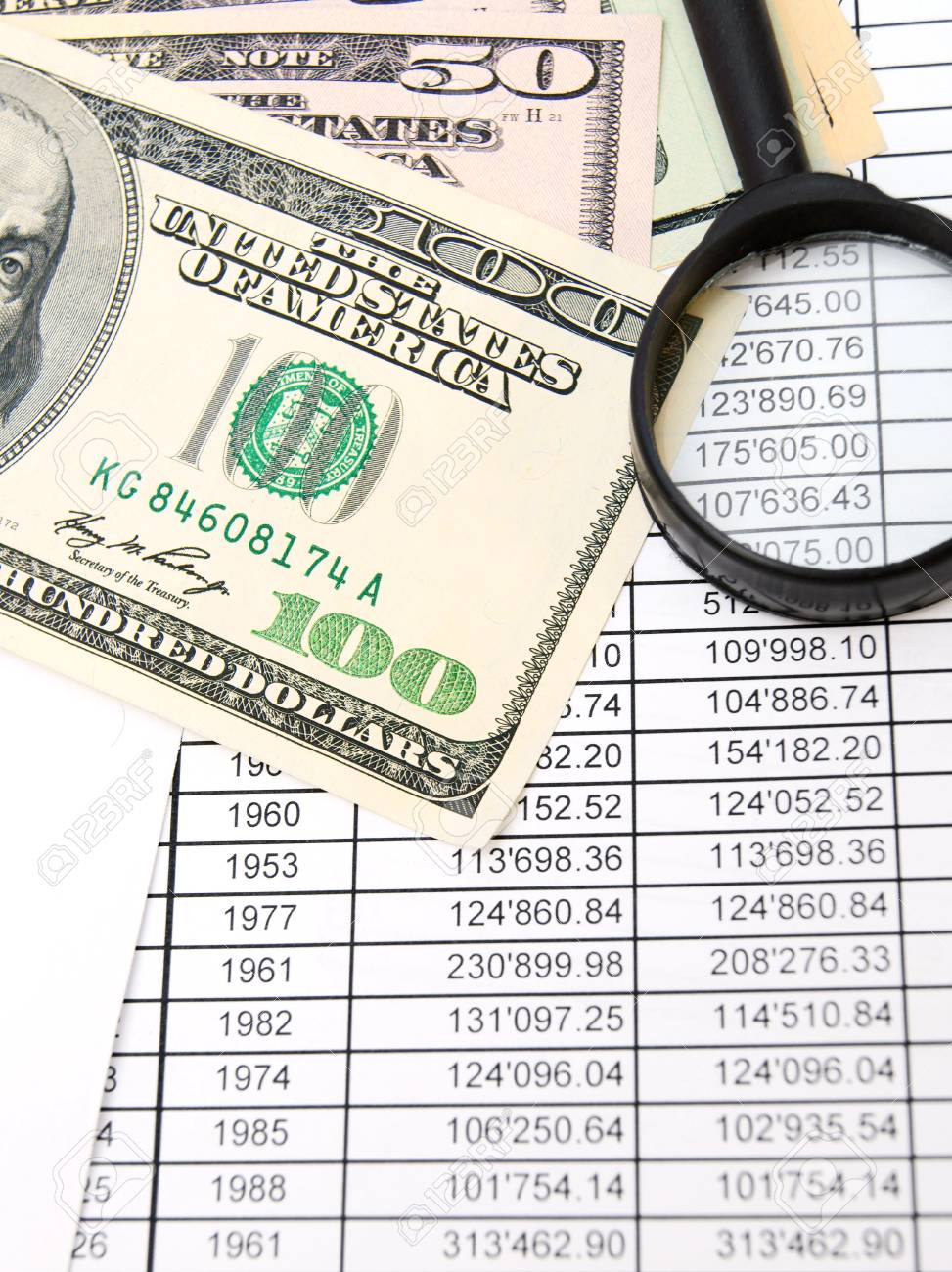 Magnifier and dollars on documents. Stock Photo - 17237055