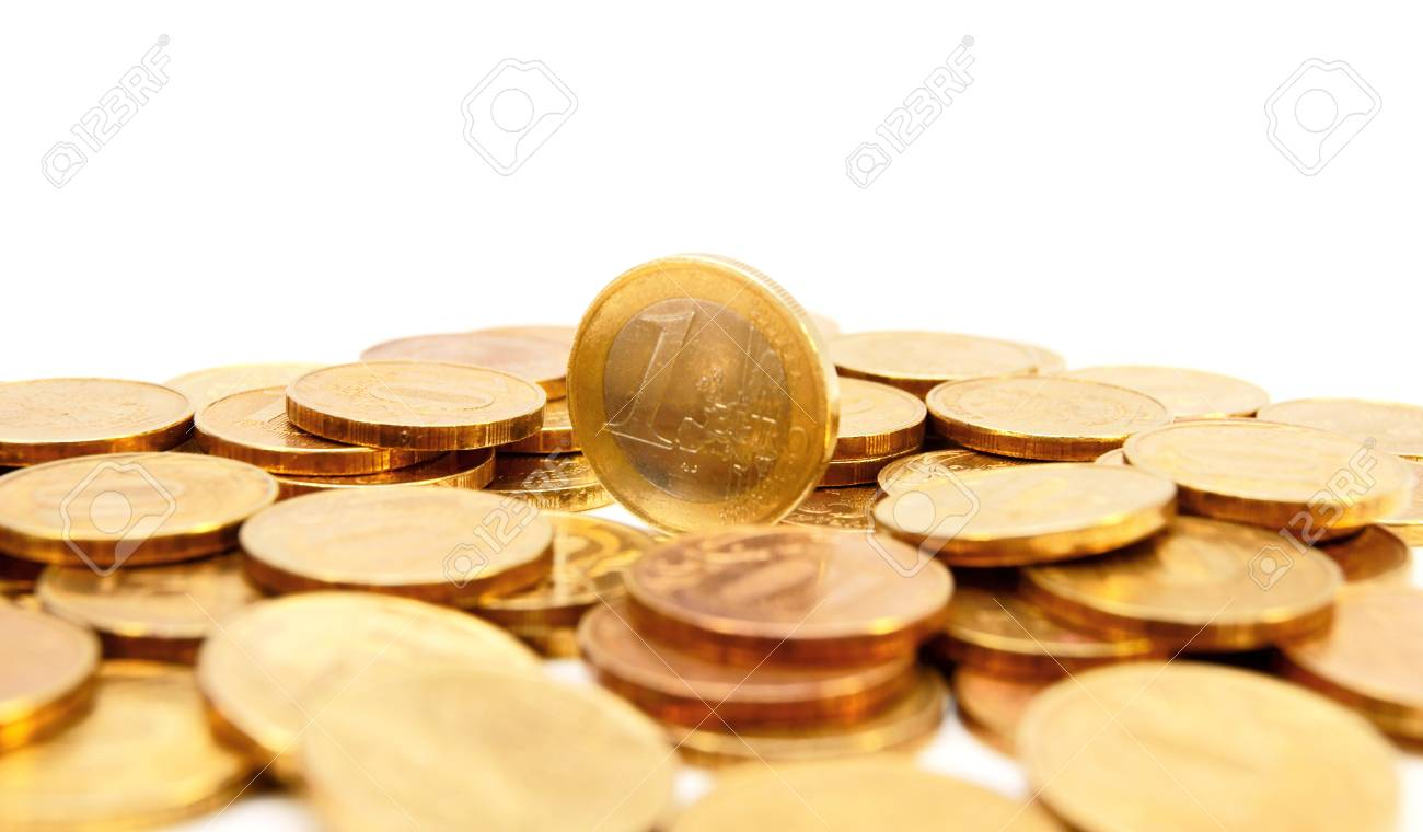 Gold coins on a white background. Stock Photo - 17213360