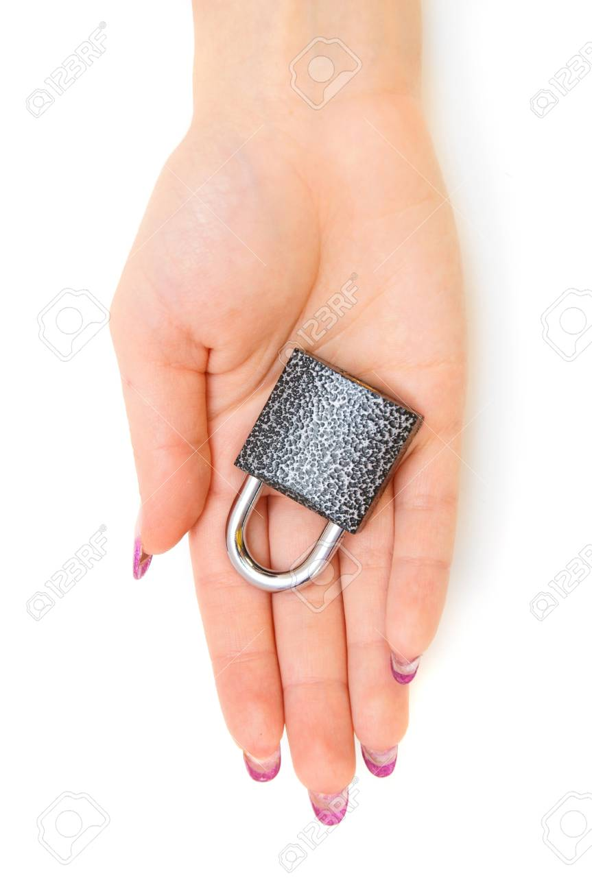 Lock in a palm Stock Photo - 17213488