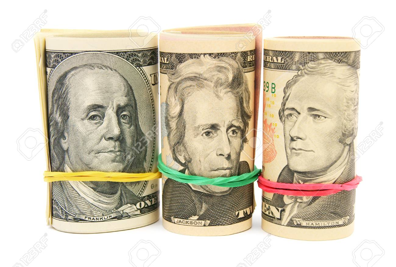 Portraits on dollars  On a white background Stock Photo - 17217789