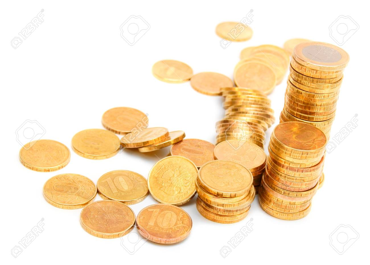 Gold coins  On a white background Stock Photo - 17220448