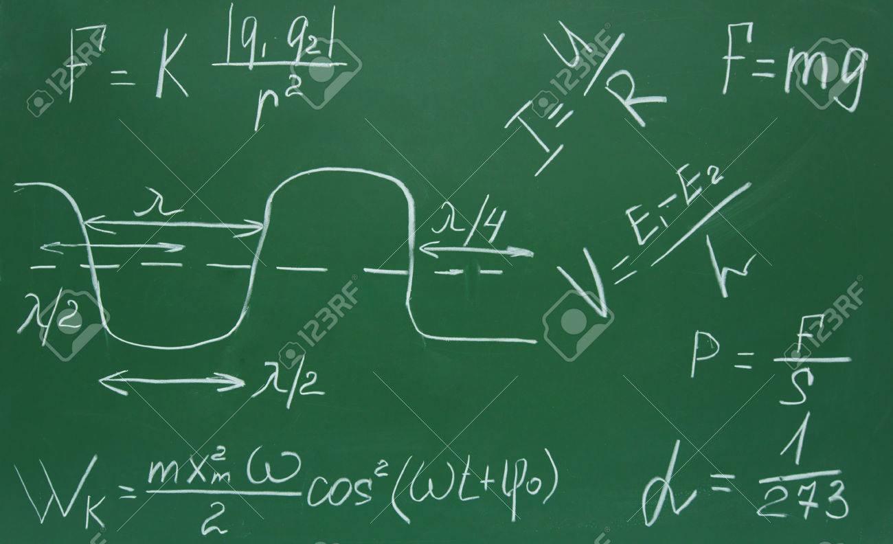 Formules Sur Le Physicien Ecrit Par Une Craie Sur Un Tableau D Ecole