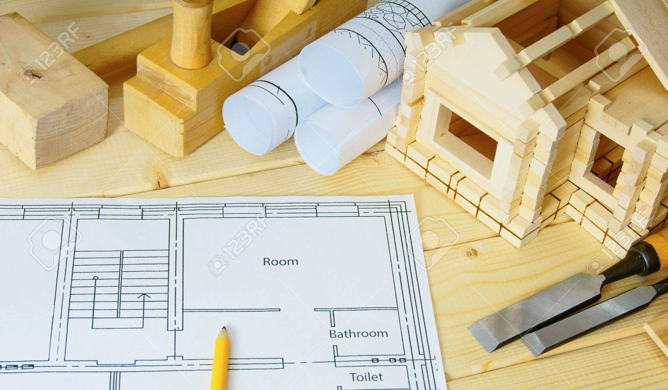Woodworking Drawings For Building Small House And Working Tools