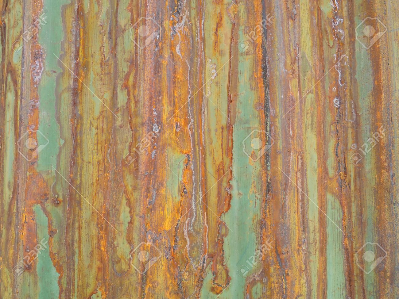 Rusty Green Painted Metal Wall With Cracked Paint Texture Color Stock Photo