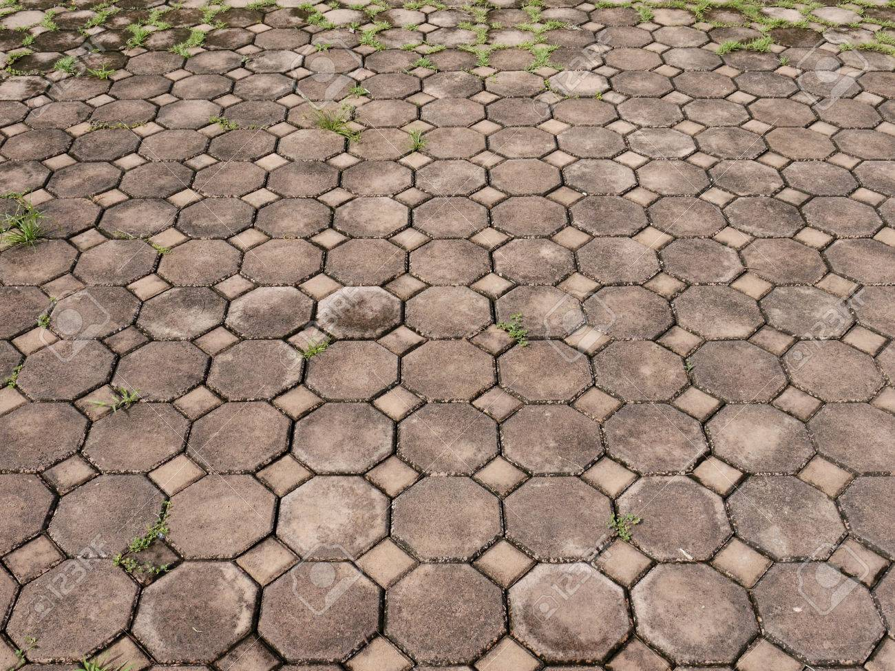 Background Of Red Brick Floor Texture Stock Photo