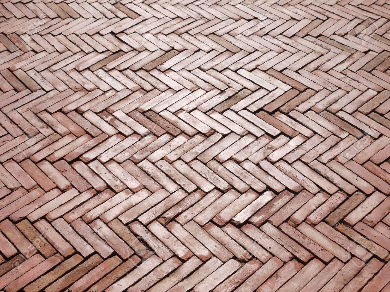 Red Brick Floor Texture Stock Photo