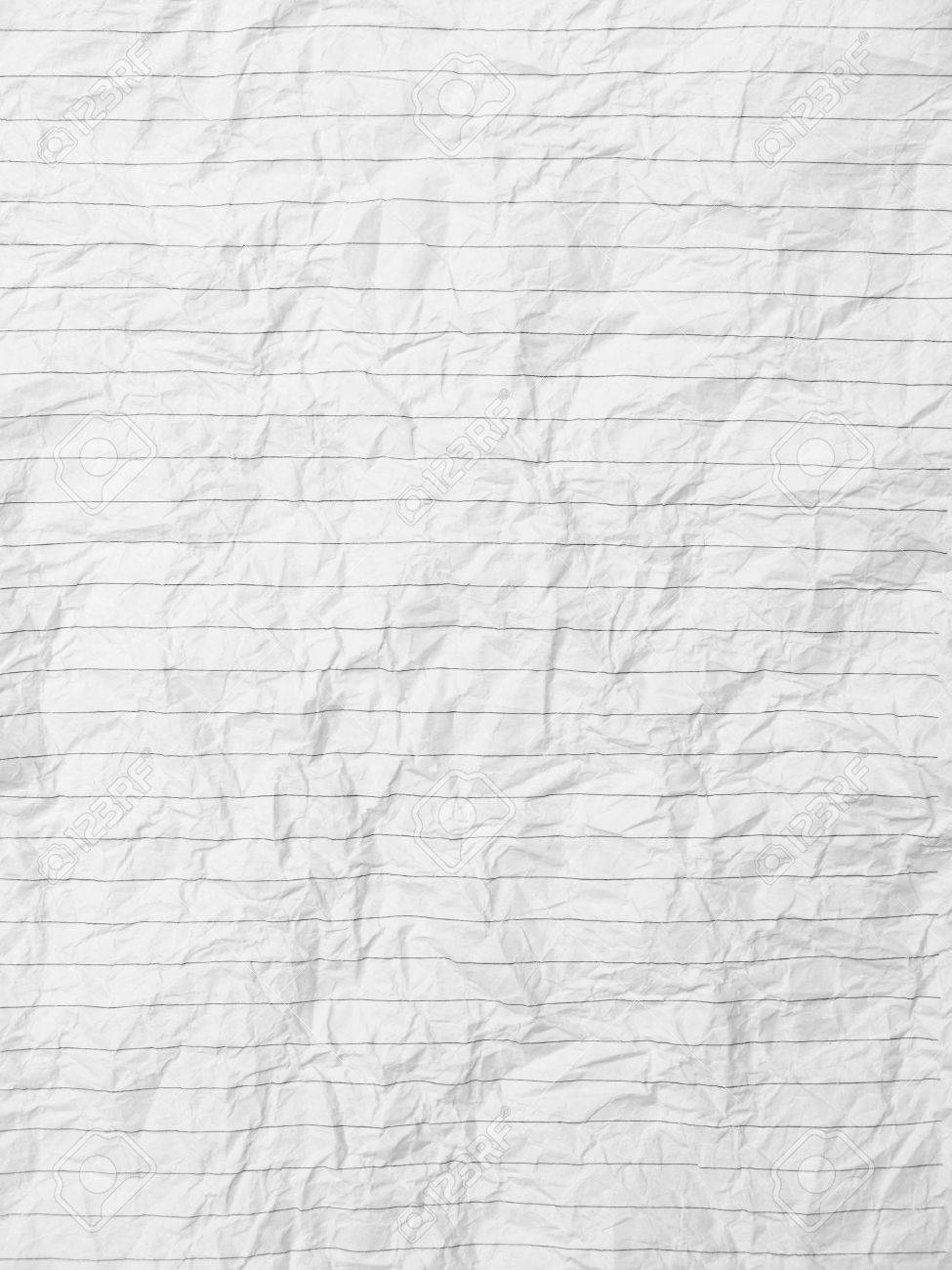 Crumpled Sheet Of Lined Paper Or Notebook Stock Photo