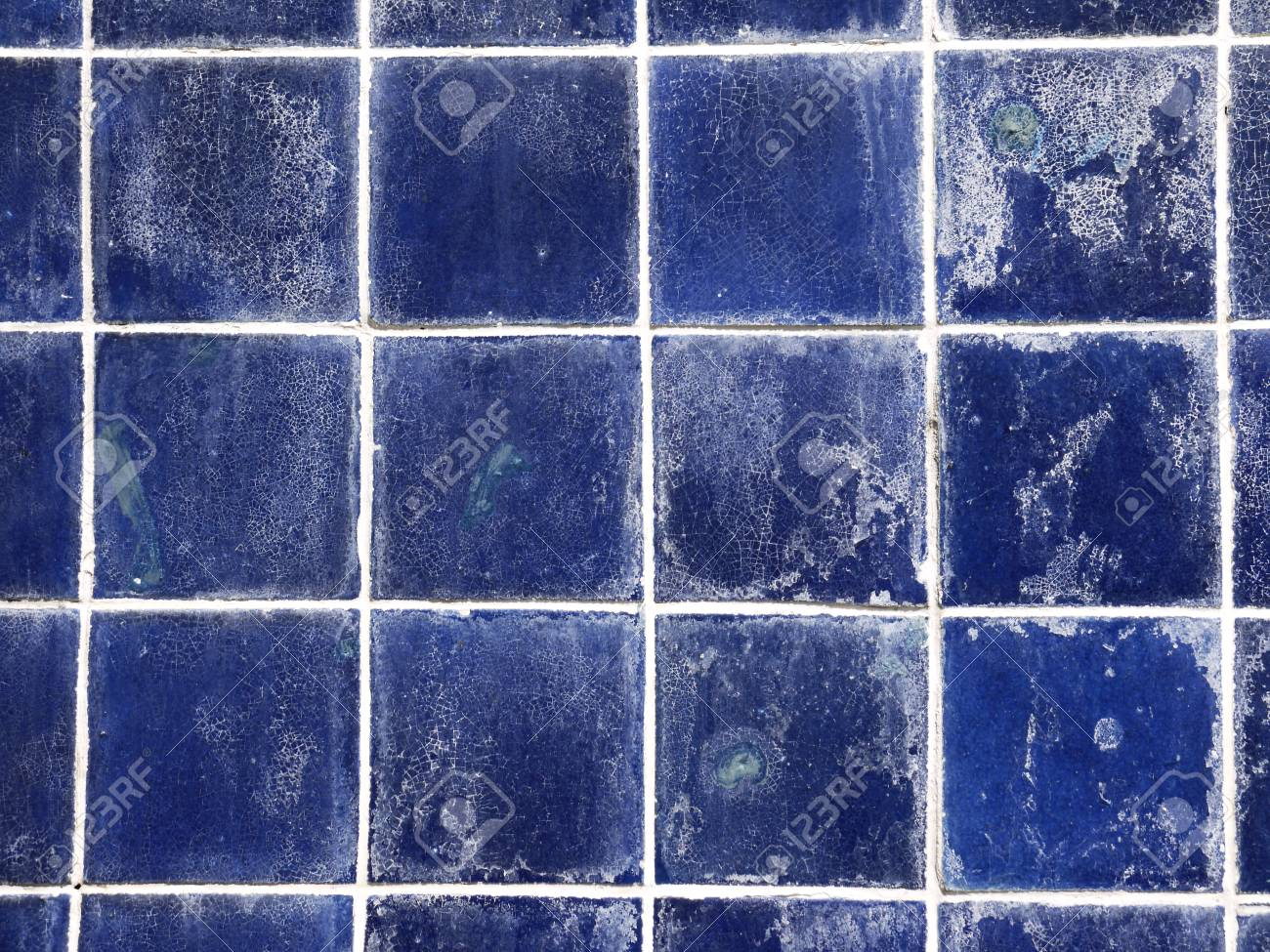 Grunge Old Blue Ceramic Wall Tiles Background Stock Photo, Picture ...