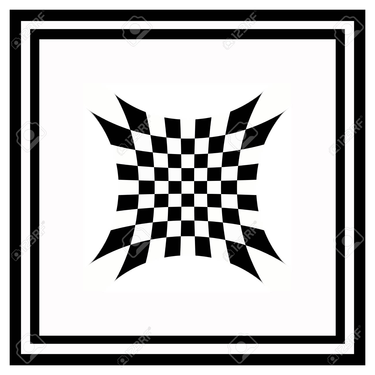 Black And White Checkered Abstract Background With Frame Stock Photo