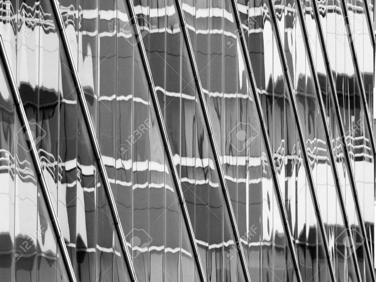 13d3af1f37a abstract glass building with reflection black and white style Stock Photo -  84961025