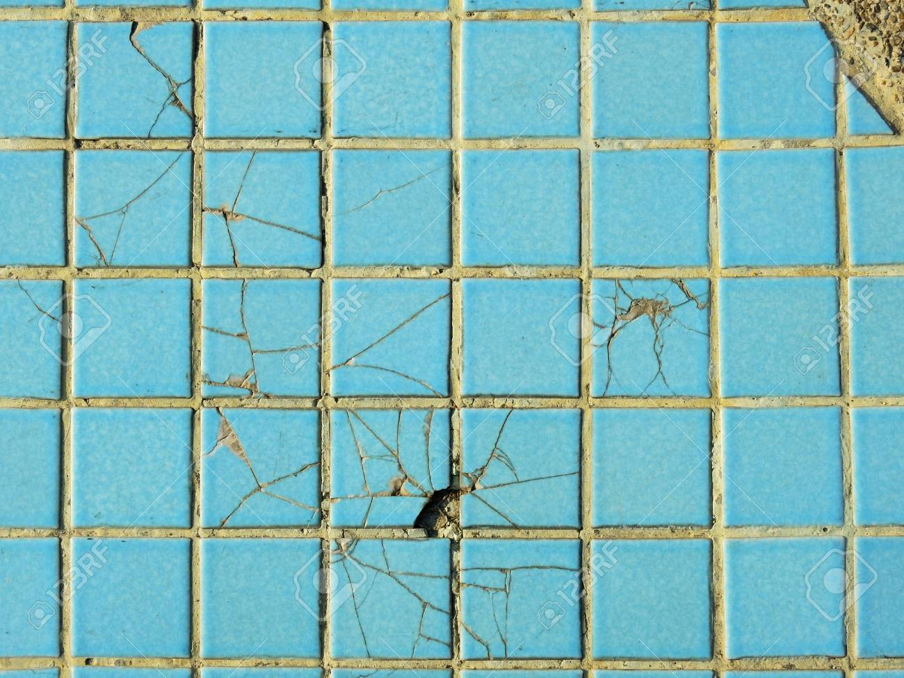 Old Blue Ceramic Tile Floor With Crack Texture Stock Photo, Picture ...