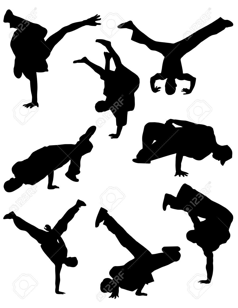 Break dance silhouettes Stock Vector - 5027376