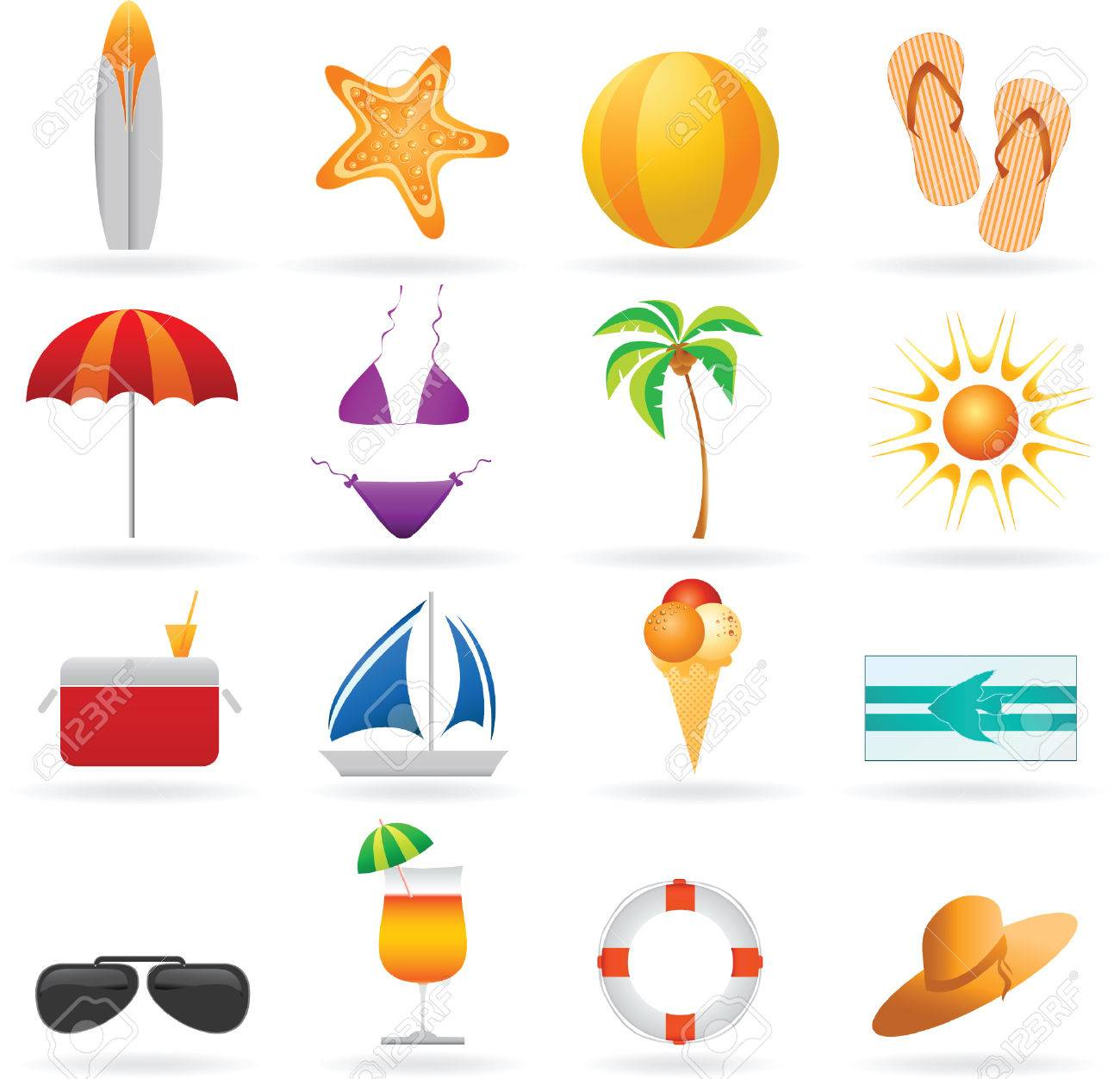 Summer and travel icon set Stock Vector - 5027393