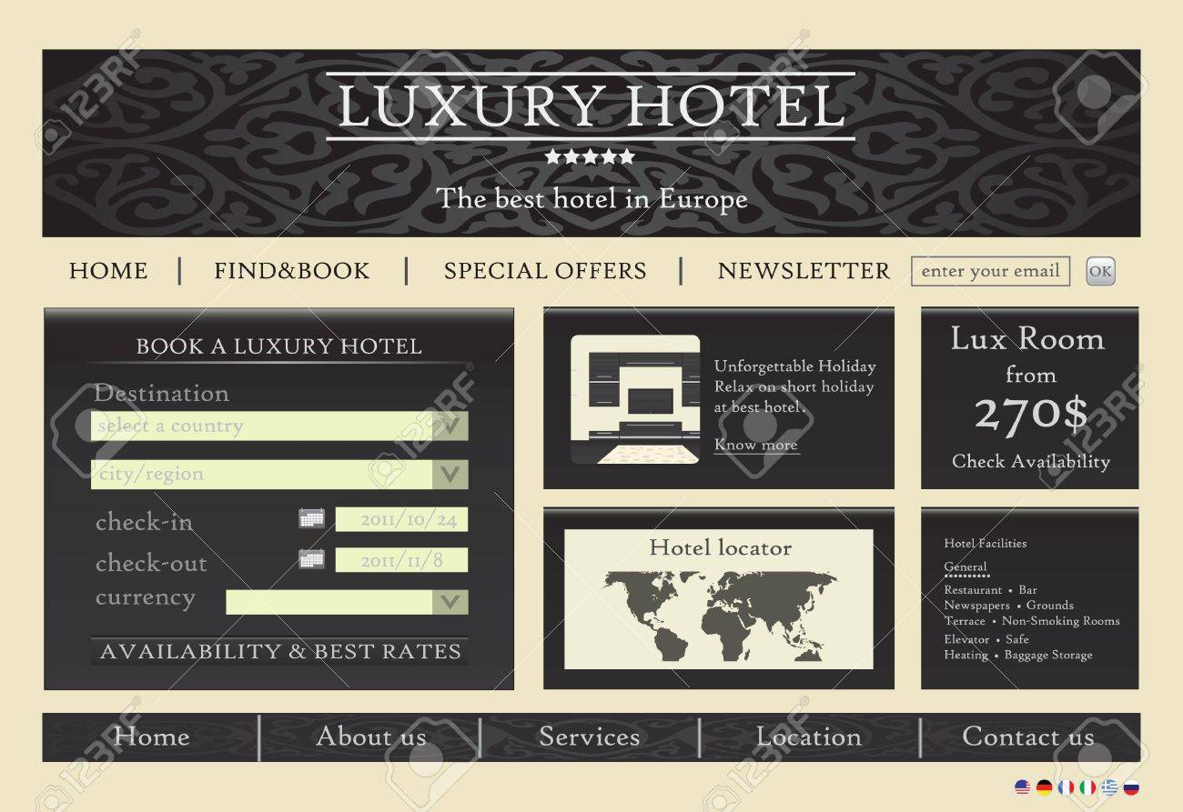Hotel Website Template Design Royalty Free Cliparts, Vectors, And ...
