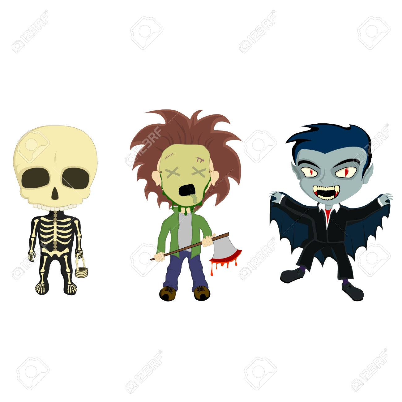 Illustration Of 3 Kids In Halloween Costumes, A Skeleton With ...
