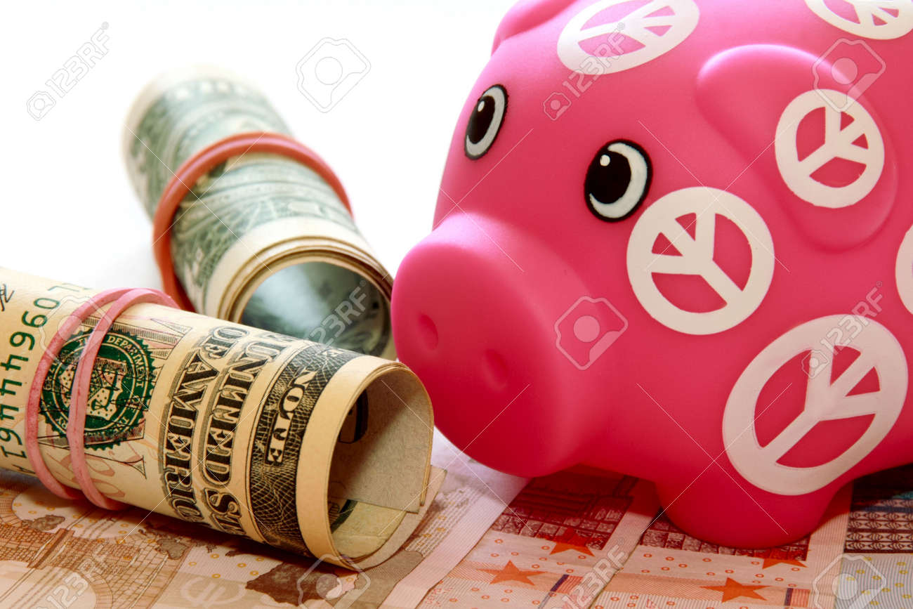 Piggy bank notes on the background close up. Stock Photo - 8032111