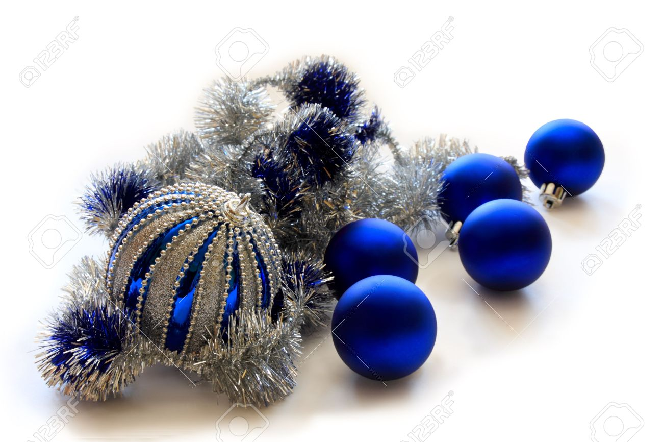 blue christmas balls with silver tinsel in isolation on a white background stock photo - Blue Christmas Balls