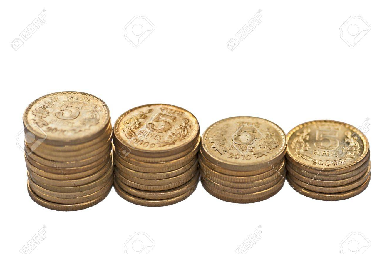 Close up of Indian Coin stack, 5 rupees, isolated on white background, copy space, Stock Photo - 14091368