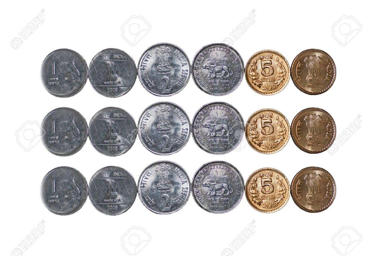 Close Up Von 3 Reihen Der Indischen Währung Münzen 5 Rupien 2