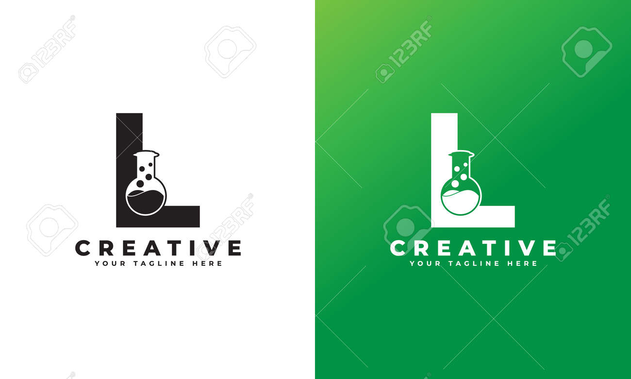 Letter L with Abstract lab logo. Usable for Business, Science, Healthcare, Medical, Laboratory, Chemical and Nature Logos. - 168445336