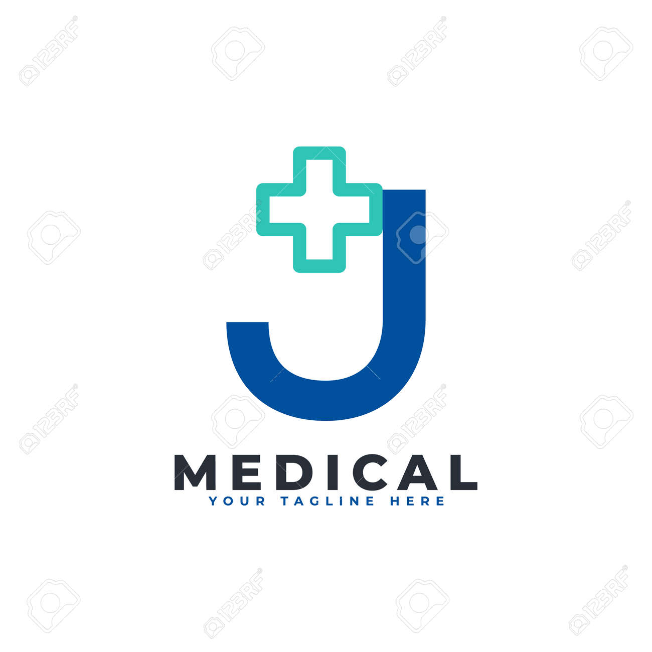 Letter J cross plus logo. Usable for Business, Science, Healthcare, Medical, Hospital and Nature Logos. - 168249701