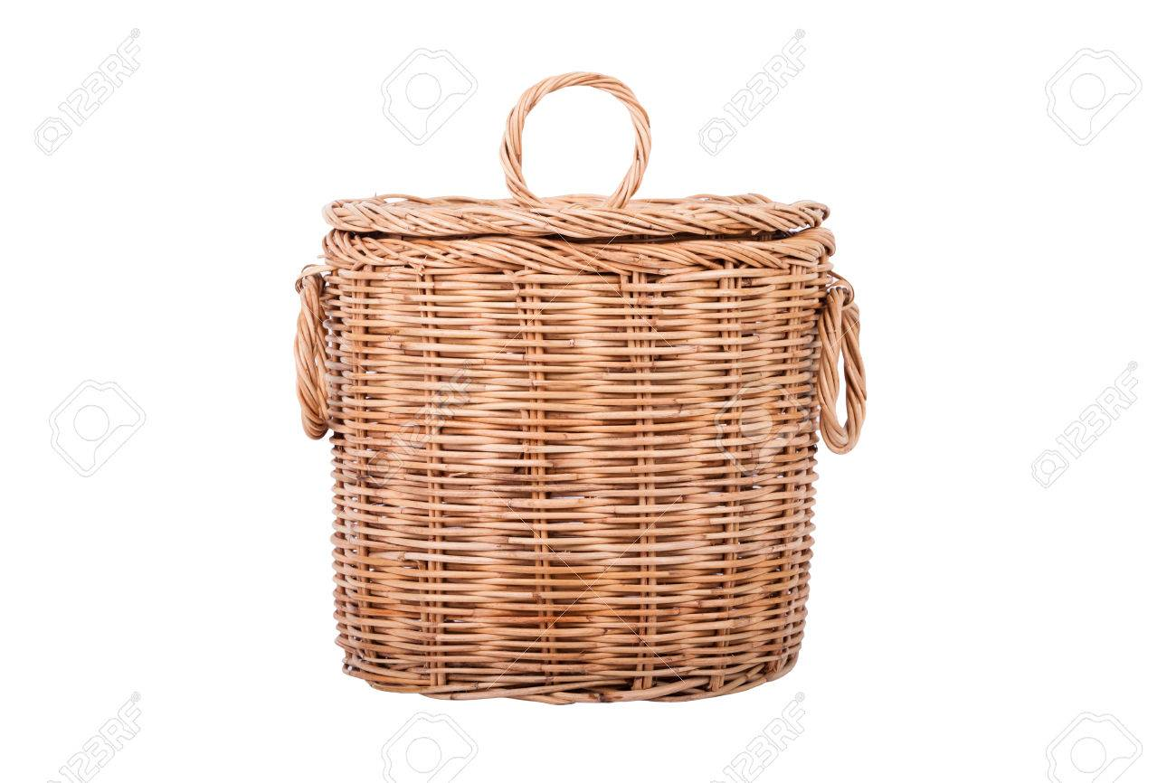 Wicker Trash Basket On White Background Stock Photo Picture And