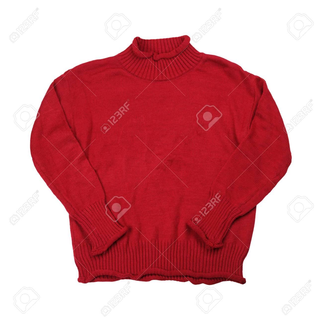 free shipping 1cf83 fe1be Adatti i vestiti rossi dei maglioni per la stagione invernale isolati su  fondo bianco