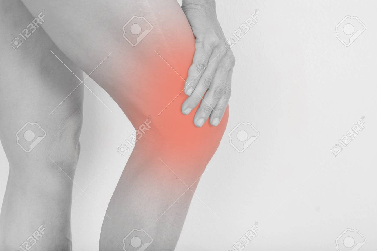 Knee Pain In Old Women And Scars From Bone Surgery Lizenzfreie