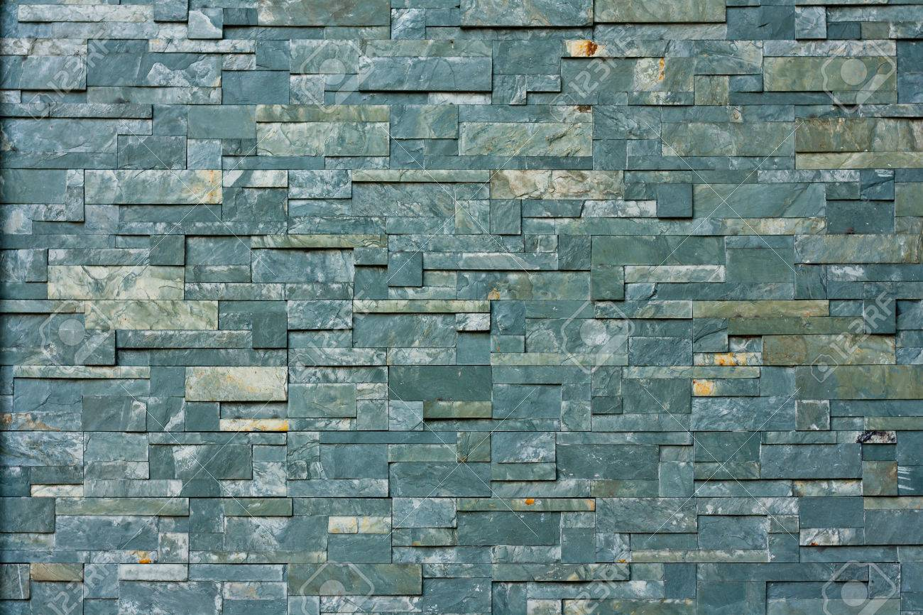Dark Grey Stone Tile Texture Brick Wall Surfaced Stock Photo