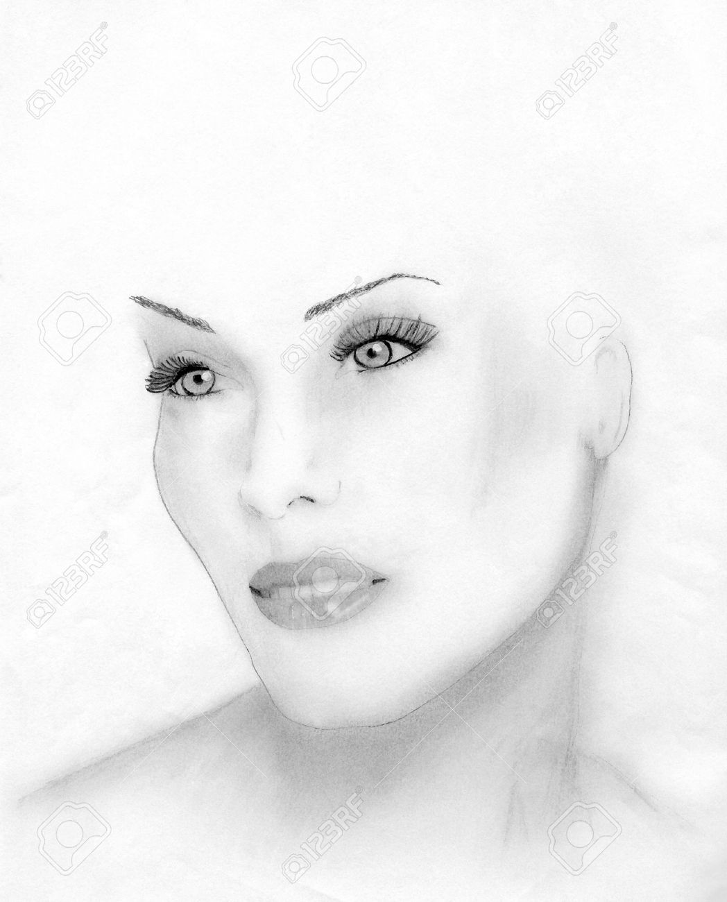 Hand drawn pencil sketch of the face of a beautiful woman stock photo 1415500