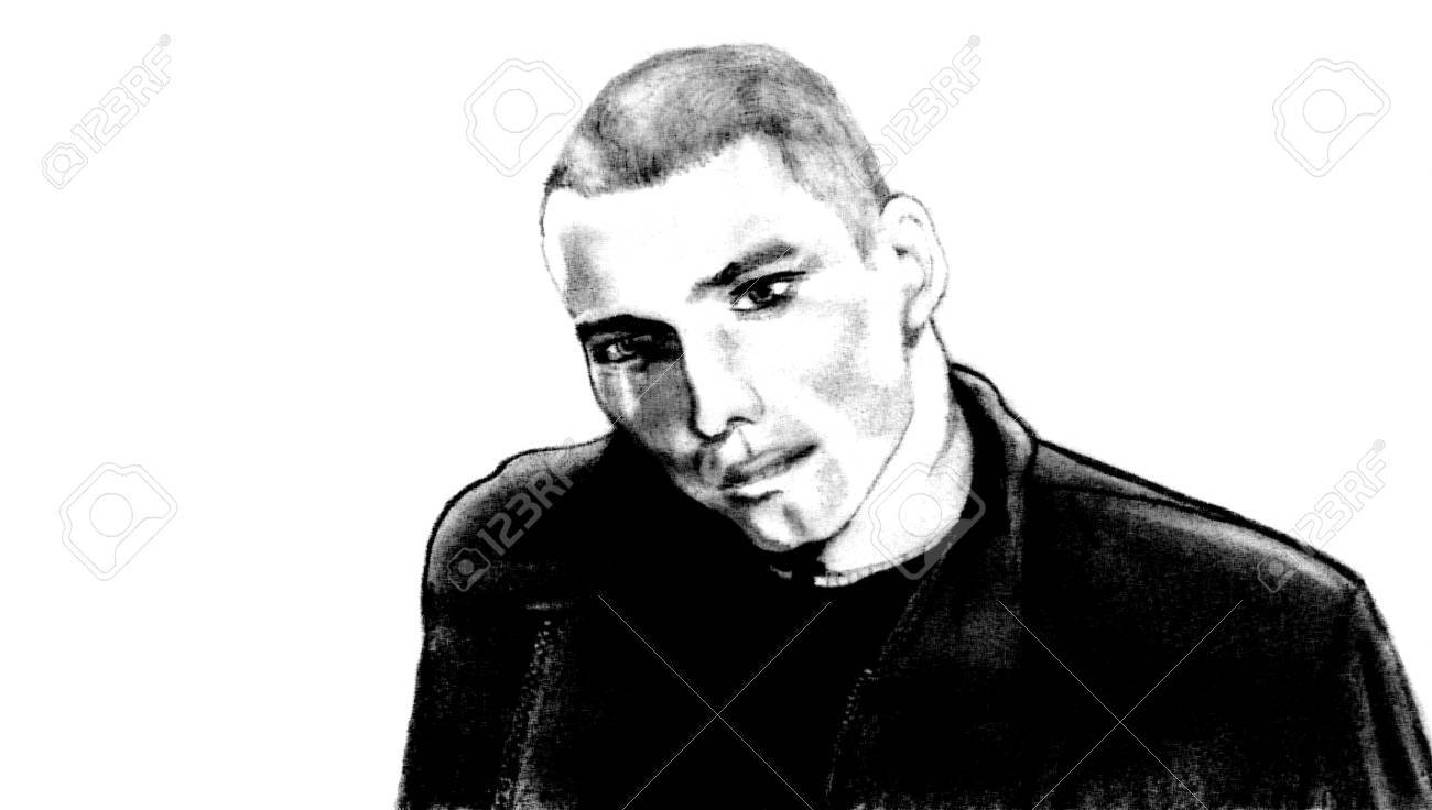 Hand drawn pencil sketch of man in a leather jacket stock photo 1415491