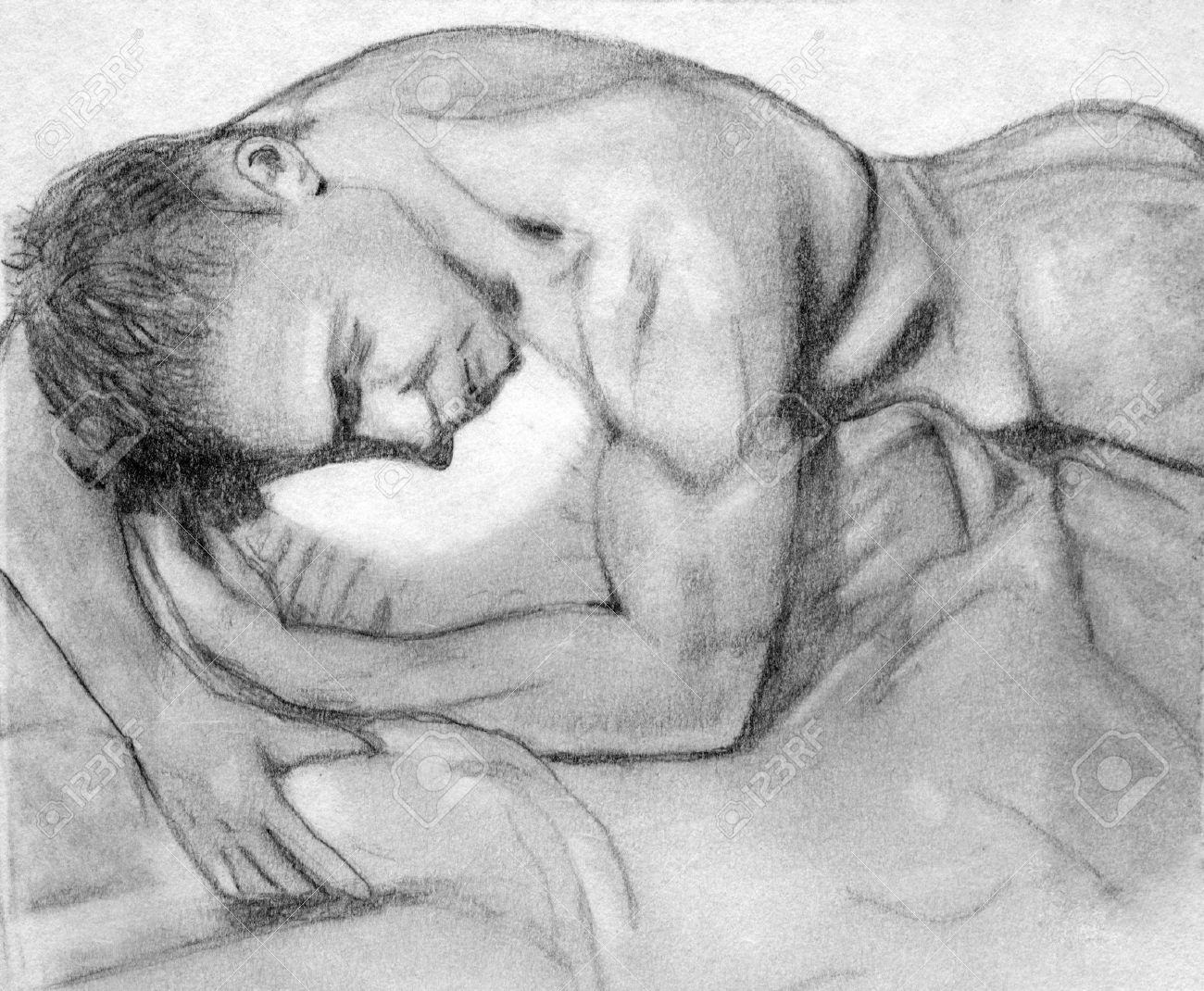Hand drawn pencil sketch of man in bed stock photo 1415494