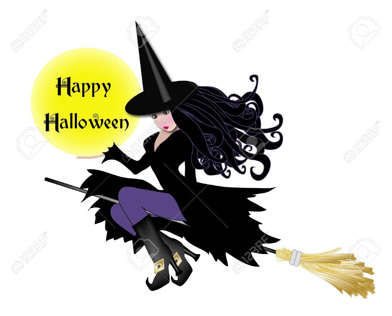 illustration of witch in purple holding happy halloween sign Stock Illustration - 1777279