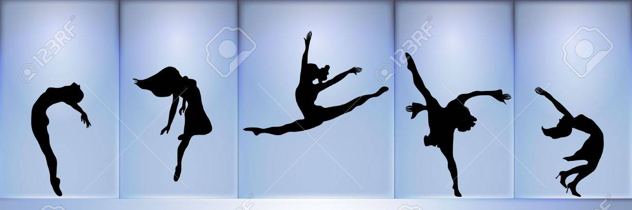 panoramic silhouette of five dancers on blue glowing background - 1841635