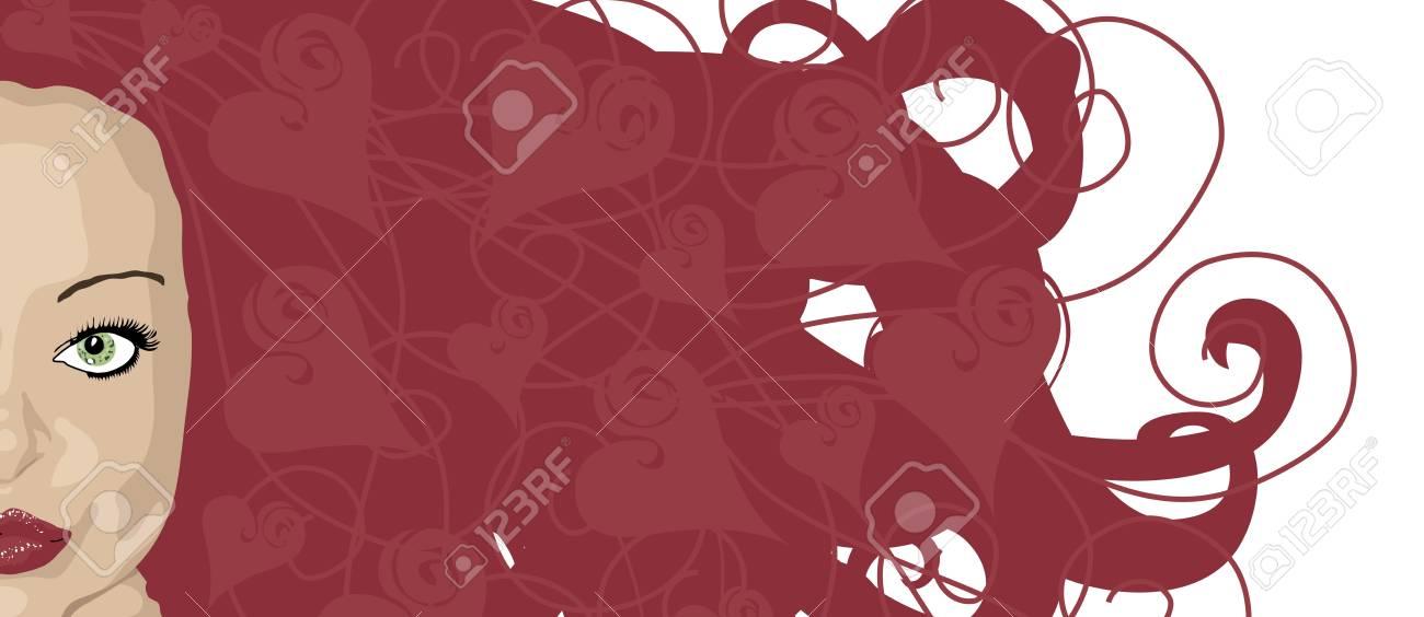 赤い髪と心の女性のイラスト バナー ハイライトします の写真素材