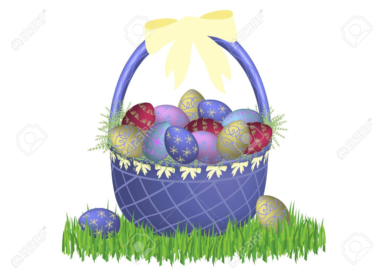 illustration of easter basket in grass on white background Stock Illustration - 2612906