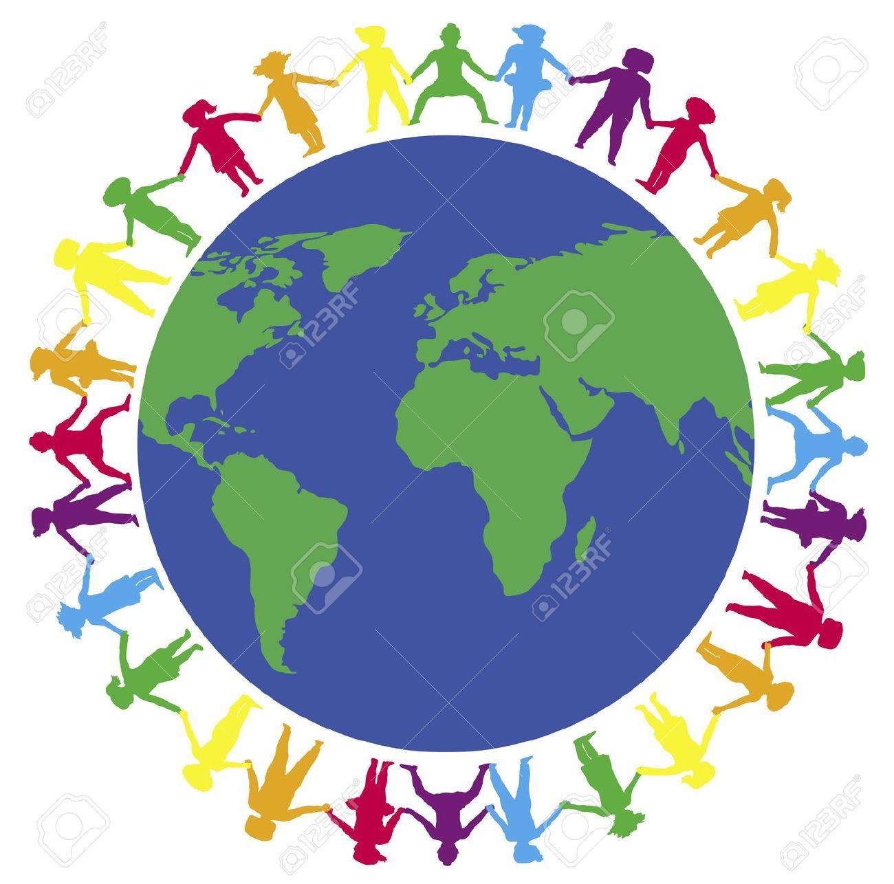 illustration of children holding hands around the world Stock Illustration - 2733244