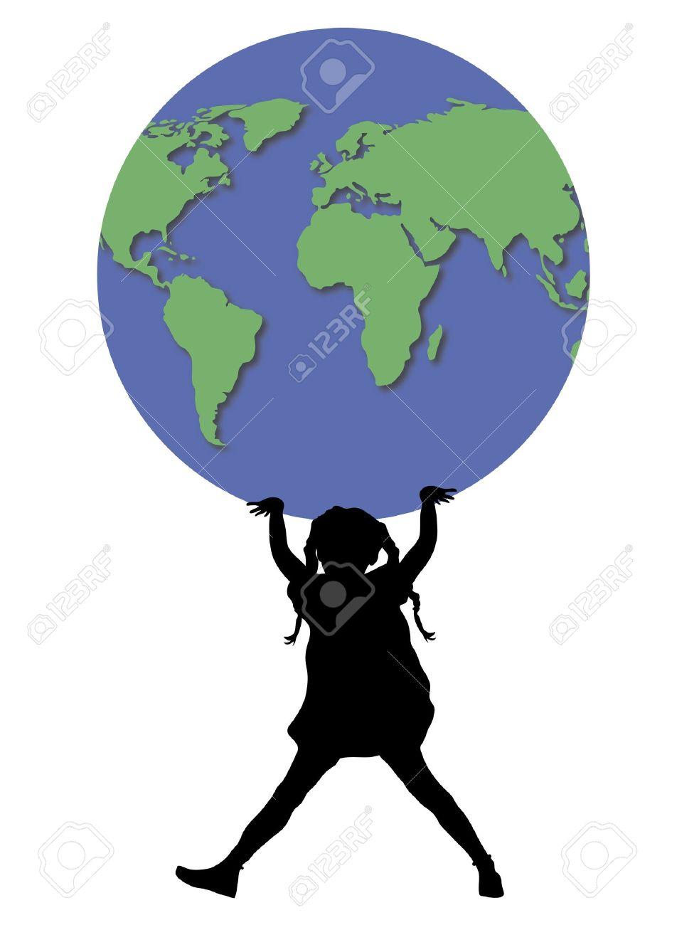 illustration of young girl holding up world globe Stock Illustration - 2733239