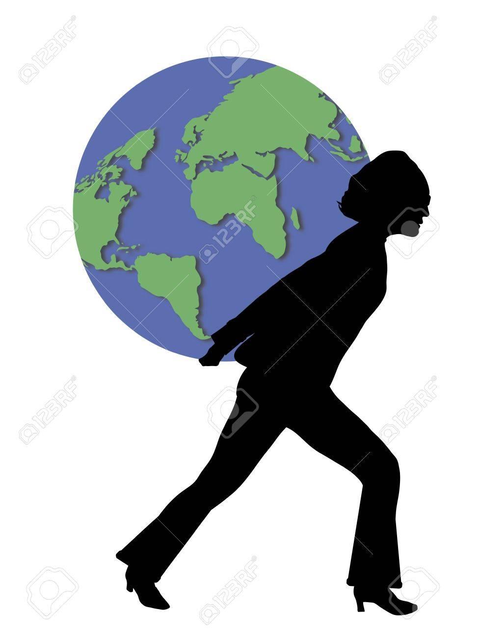 illustration of woman carrying world globe on her back Stock Illustration - 2733245