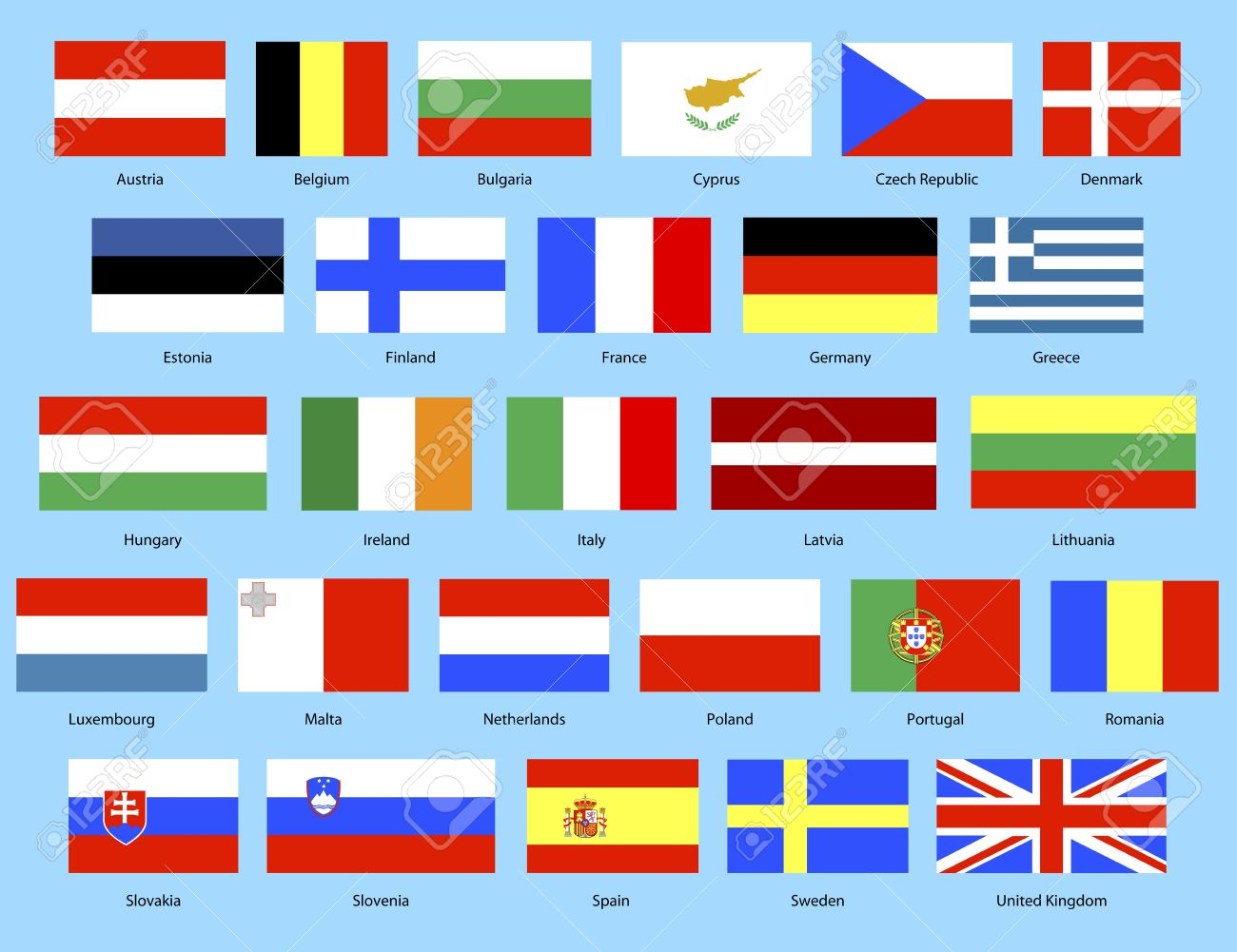 Illustration Of The 27 Nation Flags In European Union Stock Photo