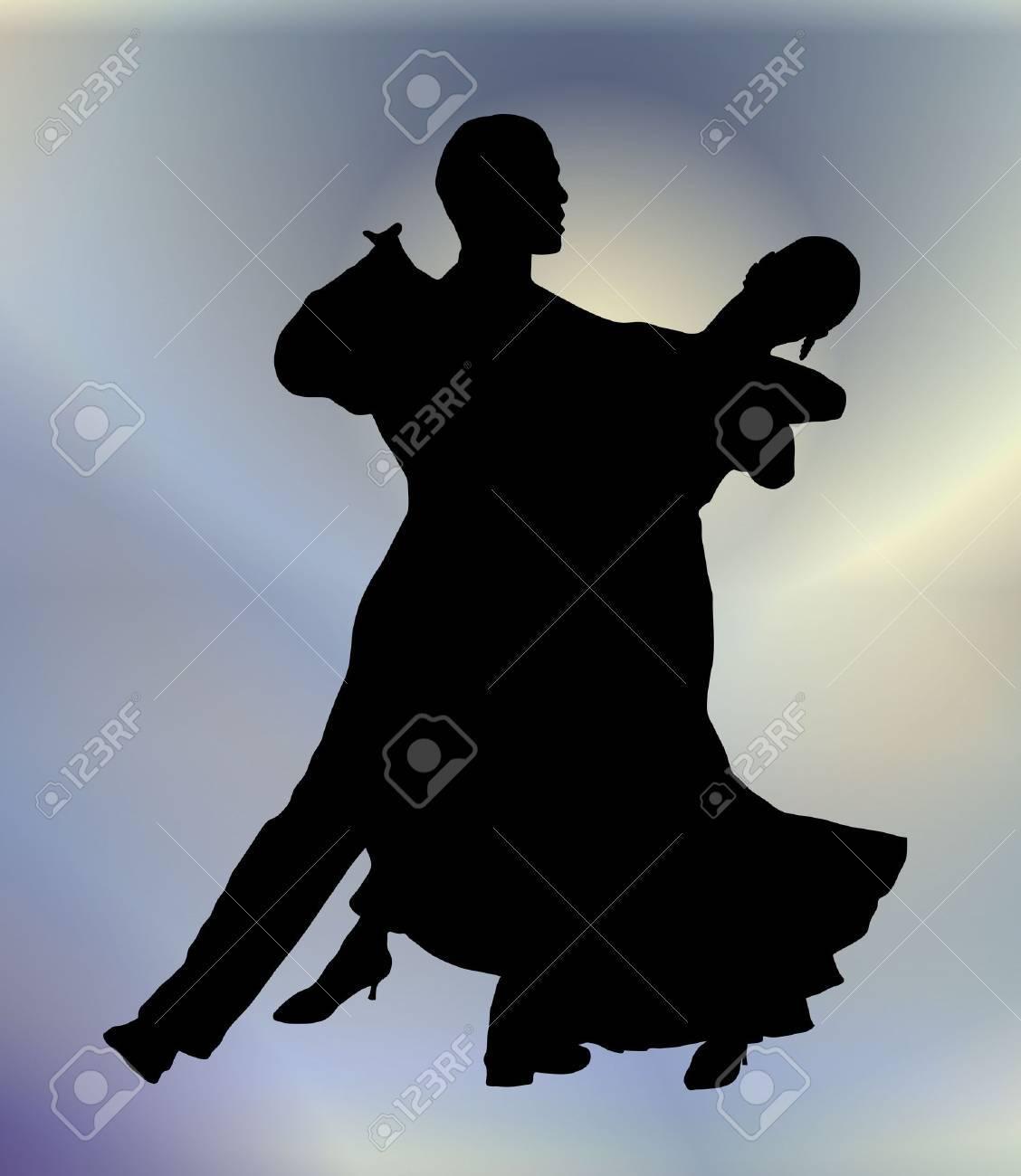 若いカップルの社交ダンスのシルエット イラスト ロイヤリティーフリー