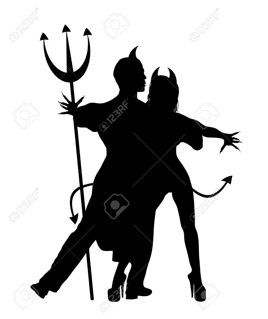 halloween silhouette of devil couple dancing stock photo 3559468 - Dancing Halloween