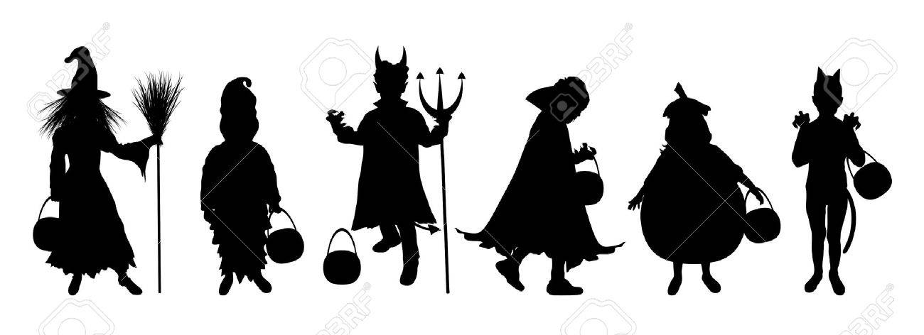 Halloween Trick Or Treat Silhouette.Silhouettes Of Children Trick Or Treating In Halloween Costume