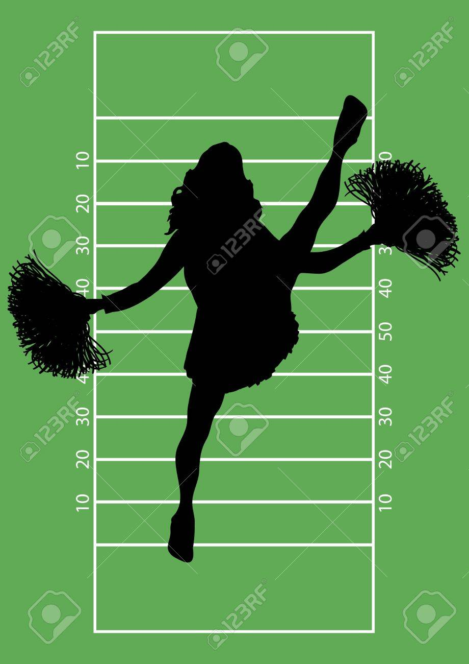 silhouette of cheerleader on football field background Stock Photo - 3605989