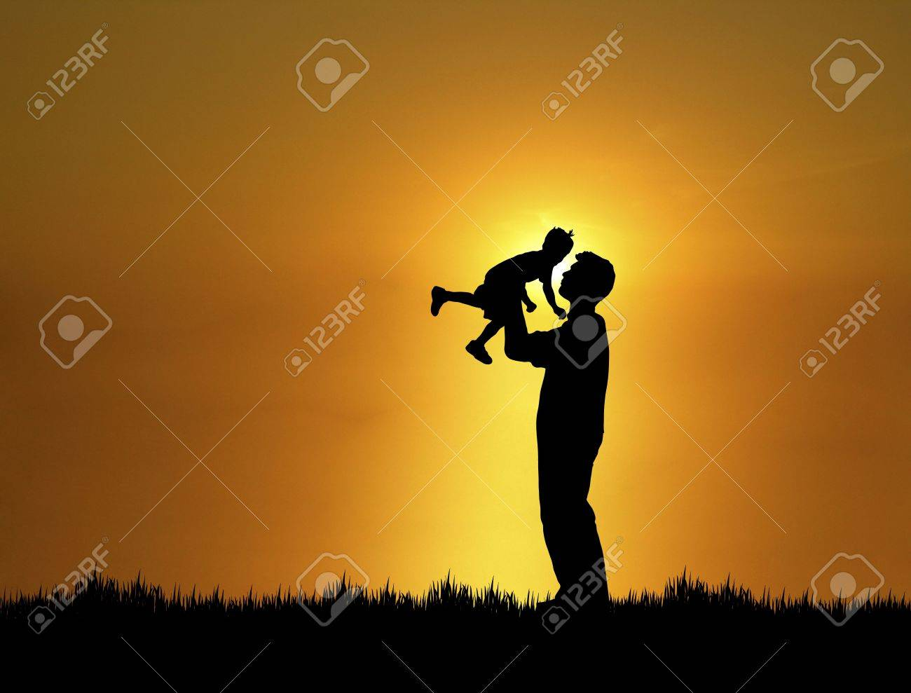 silhouette of father and son at sunset stock photo picture and