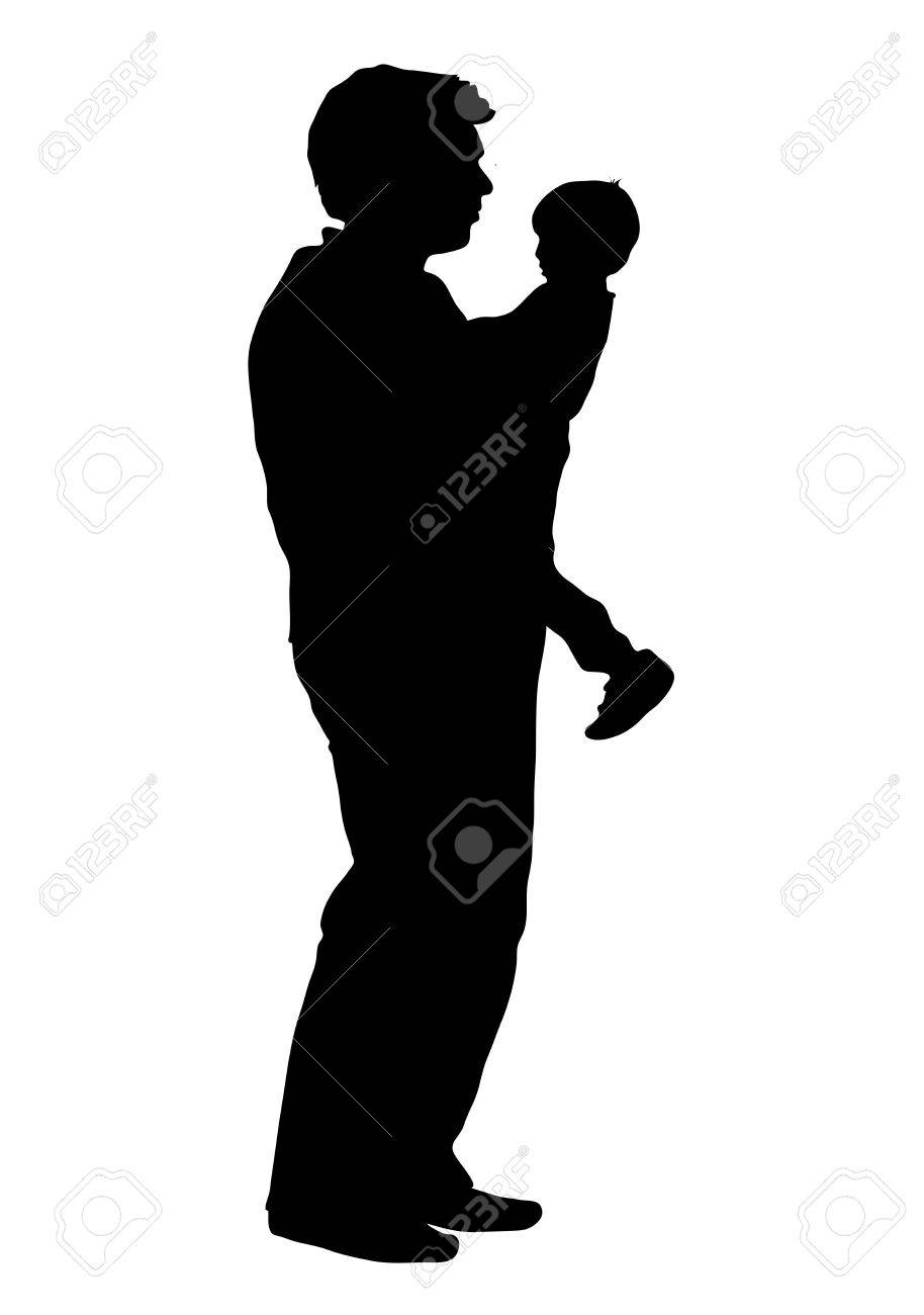 silhouette of father holding child stock photo 3727080