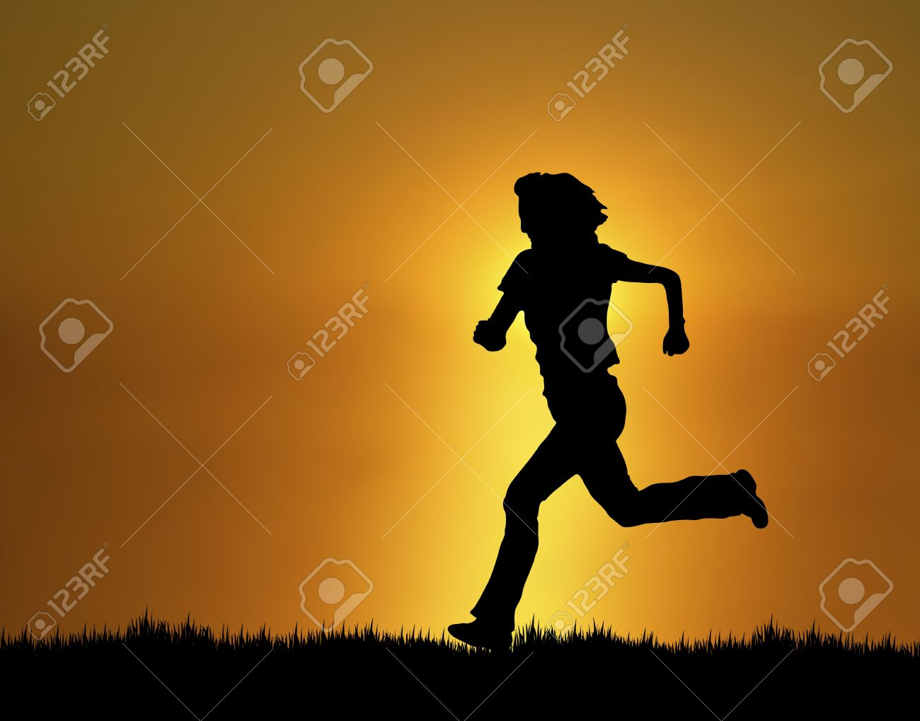 silhouette of woman running at sunset/sunrise Stock Photo - 3813780