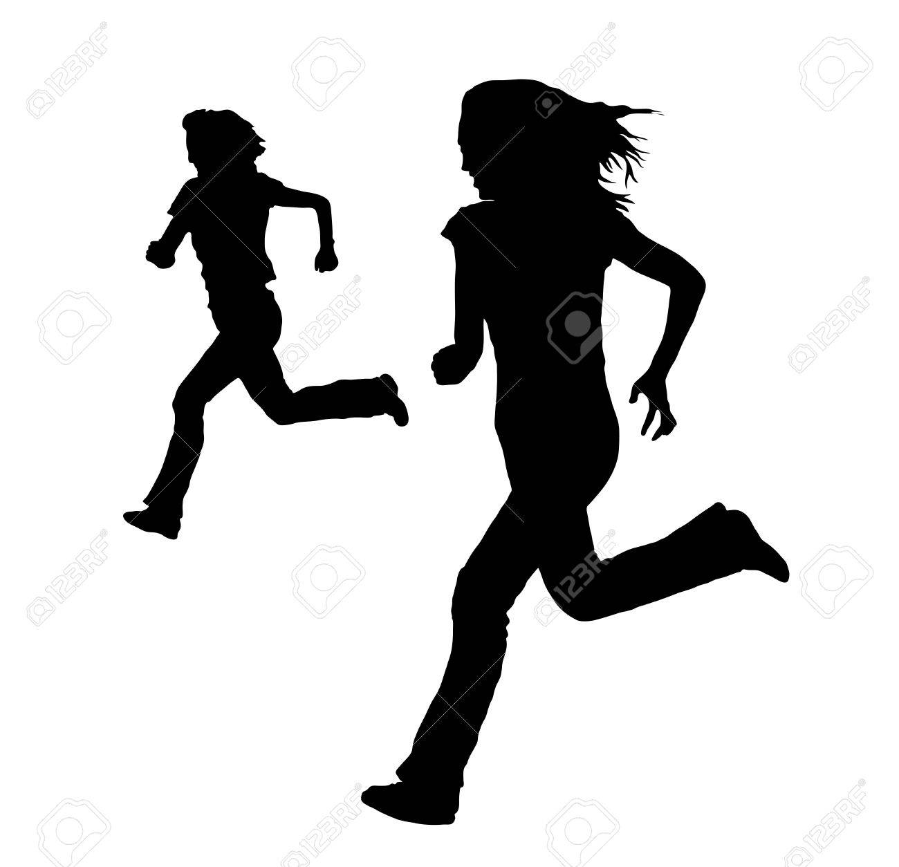 silhouette of women running on white Stock Photo - 3818414